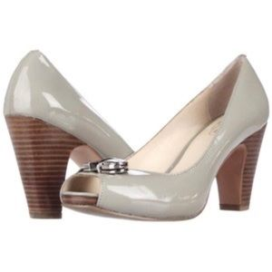 Coach Helaine Patent Peep Toe Pump Wooden Stacked